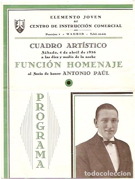 DÍPTICO FUNCIÓN HOMENAJE A ANTONIO PAÚL (Coleccionismo - Carteles Pequeño Formato)