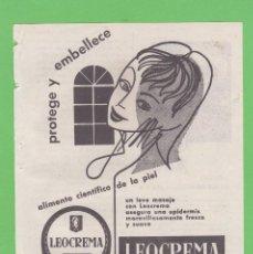 Coleccionismo de carteles: PUBLICIDAD T 1957. ANUNCIO LEOCREMA. CHLORODONT ESPAÑOLA, S.A.. Lote 187523530