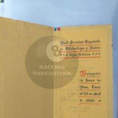 Coleccionismo de carteles: MENU RITZ MADAME CURIE AUTOGRAFO MARIE CURIE. Lote 186246050