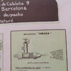 Coleccionismo de carteles: HORNO PARA LA FUNDICION SIN CRISOL OMEGA MECHEROS BARCELONA HOJA PUBLICIDAD AÑO 1920. Lote 189164158