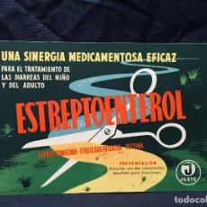 Coleccionismo de carteles: PUBLICIDAD MEDICAMENTO ESTREPTOENTEROL PECTINA COMPRIMIDOS HEPAL CRUDO VITAMINAS SOE AÑOS 50 60 . Lote 189321560