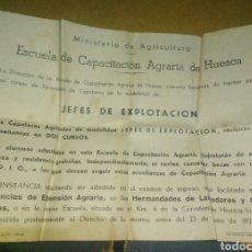 Collezionismo di affissi: CARTEL 1974 ESCUELA CAPACITACIÓN AGRARIA DE HUESCA MINISTERIO DE AGRICULTURA CURSO JEFE EXPLOTACIÓN. Lote 189601446