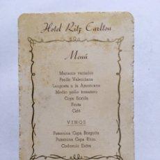 Coleccionismo de carteles: MENÚ HOTEL RITZ CARLTON. Lote 191026946