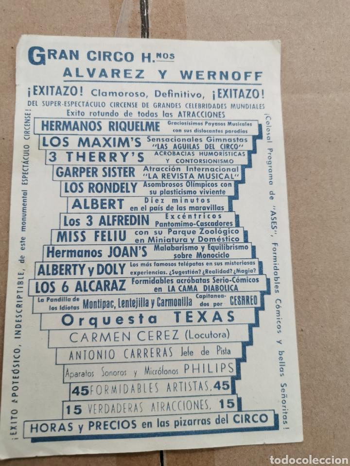 Coleccionismo de carteles: Gran circo hermanos Álvarez y wernoff - Foto 2 - 191886741