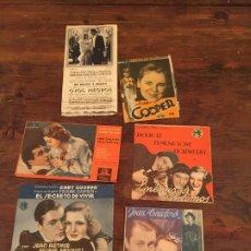 Coleccionismo de carteles: ANTIGUOS 5 CARTELES DE CINE ACTORES JOAN CRAWFORD, GARY COOPER, JACK HOLT, JACKY COOPER. Lote 191993252
