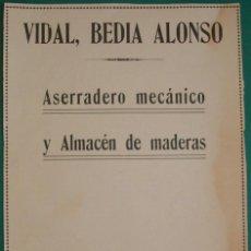 Coleccionismo de carteles: ANUNCIO PUBLICIDAD DE ALAMCÉN DE MADERAS VIDAL, BEDIA ALONSO. LA CARIDAD-EL FRANCO (ASTURIAS). Lote 192716450