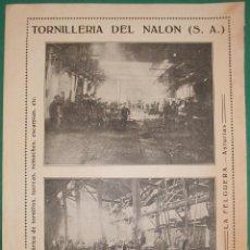 Coleccionismo de carteles: HOJA DE PUBLICIDAD DE TORNILLERÍA DEL NALÓN. LA FELGUERA-LANGREO(ASTURIAS). PUBLICADA EN LOS AÑOS 20. Lote 192716575