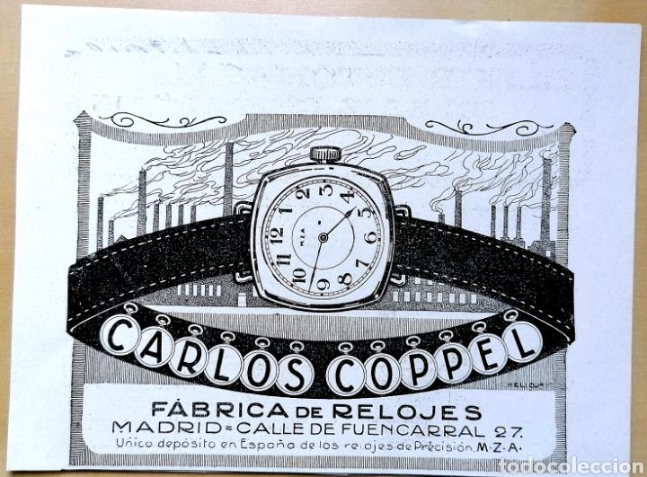 ANTIGUA PUBLICIDAD - CARLOS COPPELL, FABRICA DE RELOJES - RECORTE REVISTA 1919 (Coleccionismo - Carteles Pequeño Formato)