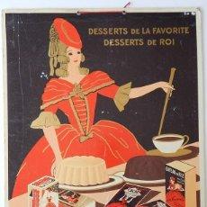 Coleccionismo de carteles: LA FAVORITE / DESSERTS DE LA FAVORITE DESSERTS DE ROI - ÉTABLISSEMENTS DROCOURT / SPÉCIALITÉS. Lote 193273507