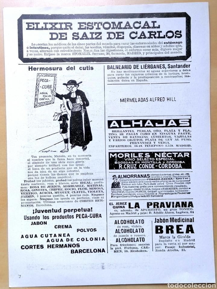 HOJA CON VARIOS ANUNCIOS DE ÉPOCA - EXTRAÍDA DE REVISTA 1919 / 25X18 CM (Coleccionismo - Carteles Pequeño Formato)