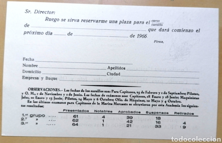 Coleccionismo de carteles: Tarjeta con antigua publicidad de Academia LA SANTA MARÍA, Marina Mercante - 10x16 cm - Foto 2 - 193328590