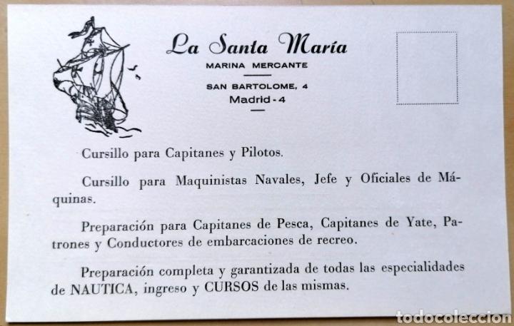 TARJETA CON ANTIGUA PUBLICIDAD DE ACADEMIA LA SANTA MARÍA, MARINA MERCANTE - 10X16 CM (Coleccionismo - Carteles Pequeño Formato)
