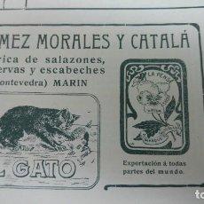 Coleccionismo de carteles: FABRICA DE SALAZONES CONSERVAS Y ESCABECHES -EL GATO- MARIN PONTEVEDRA HOJA AÑO 1907. Lote 193377492