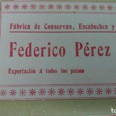 Coleccionismo de carteles: FABRICA DE CONSERVAS,ESCABECHES Y SALAZONES FEDERICO PEREZ Y Cª VIGO HOJA AÑO 1904. Lote 193651628