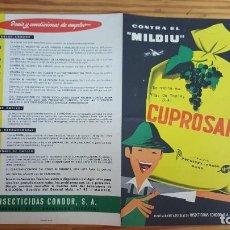 Coleccionismo de carteles: INSECTICIDAS CONDOR S.A. PUBLICIDAD CUPROSAN. DIMENSIONES 30X21 CM. AÑO 1956. EXCELENTE ESTADO. Lote 193854148