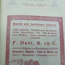 Collezionismo di affissi: FABRICA DE MATERIAL PARA INSTALACIONES ELECTRICAS -F.DAVI ,S EN C - GRANOLLERS HOJA PUBLICIDAD 1920. Lote 193972927