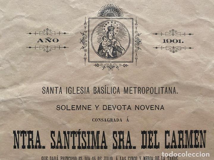 Coleccionismo de carteles: NUESTRA SEÑORA SANTISIMA DEL CARMEN , GRANADA 1901 , SOLEMNE Y DEVOTA NOVENA - Foto 2 - 194059411