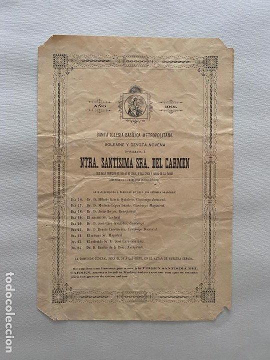 NUESTRA SEÑORA SANTISIMA DEL CARMEN , GRANADA 1901 , SOLEMNE Y DEVOTA NOVENA (Coleccionismo - Carteles Pequeño Formato)