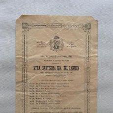 Coleccionismo de carteles: NUESTRA SEÑORA SANTISIMA DEL CARMEN , GRANADA 1901 , SOLEMNE Y DEVOTA NOVENA. Lote 194059411