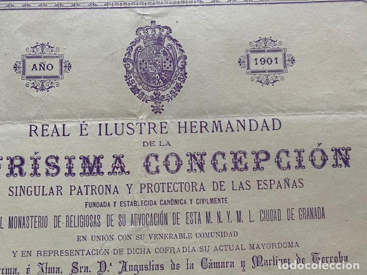 Coleccionismo de carteles: HERMANDAD DE LA PURISIMA CONCEPCIÓN , NOVENA GRANADA 1901 - Foto 2 - 194059621