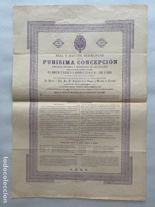HERMANDAD DE LA PURISIMA CONCEPCIÓN , NOVENA GRANADA 1901 (Coleccionismo - Carteles Pequeño Formato)