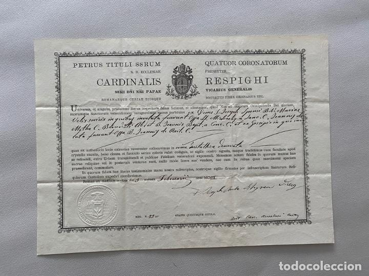 DOCUMENTO DE AUTENTICIDAD DE RELIQUIA , ROMA 1902 , (Coleccionismo - Carteles Pequeño Formato)