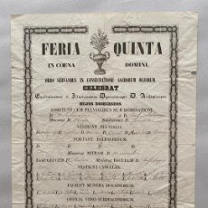 Coleccionismo de carteles: DOCUMENTO RELIGIOSO DE 1854 , DE LA IMPRENTA DE ALONSO , FERIA QUINTA . Lote 194060643