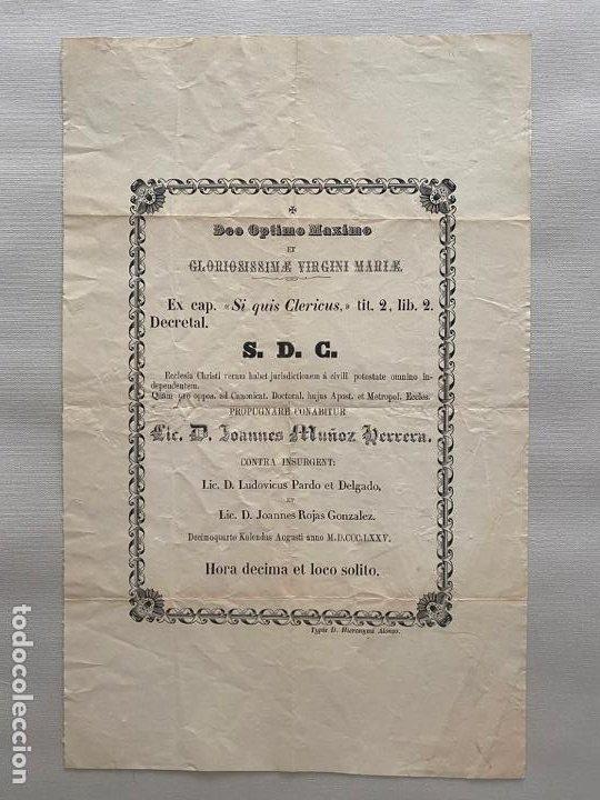 DOCUMENTO RELIGIOSO VINCULADO A MÁLAGA DE 1875 , JUAN MUÑOZ HERRERA (Coleccionismo - Carteles Pequeño Formato)