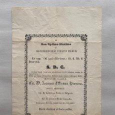 Coleccionismo de carteles: DOCUMENTO RELIGIOSO VINCULADO A MÁLAGA DE 1875 , JUAN MUÑOZ HERRERA . Lote 194060960