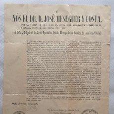 Coleccionismo de carteles: NÓS EL DR. D. JOSÉ MESEGUER Y COSTA , GRANADA 1913 . 52 X 38,5 CM. DOCUMENTO RELIGIOSO . Lote 194061435