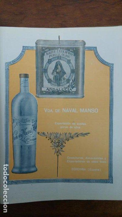 ACEITE EXTRAFINO PURO DE OLIVA VIUDA NAVAL MANSO CORDOBA MARCA REGISTRADA ANDALUCIA AÑO 1920 (Coleccionismo - Carteles Pequeño Formato)