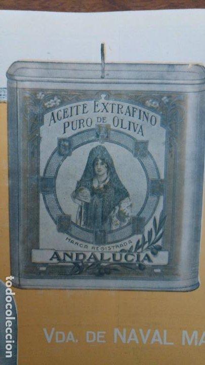 Coleccionismo de carteles: ACEITE EXTRAFINO PURO DE OLIVA VIUDA NAVAL MANSO CORDOBA MARCA REGISTRADA ANDALUCIA AÑO 1920 - Foto 2 - 194239433