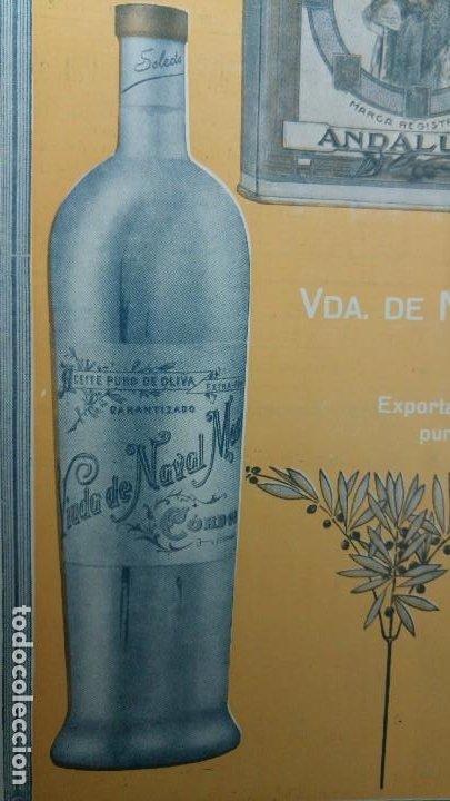 Coleccionismo de carteles: ACEITE EXTRAFINO PURO DE OLIVA VIUDA NAVAL MANSO CORDOBA MARCA REGISTRADA ANDALUCIA AÑO 1920 - Foto 3 - 194239433