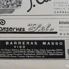 Coleccionismo de carteles: FABRICA DE CONSERVAS Y ESCABECHES -CONSERVAS SEL-ANTONIO DEL SEL CARRANZA MUROS CORUÑA HOJA AÑO 1939. Lote 194300220