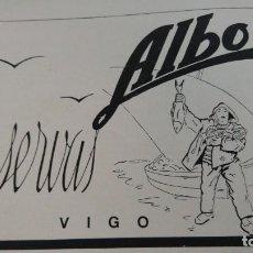 Coleccionismo de carteles: CONSERVAS ALBO VIGO HOJA REVISTA AÑO 1939. Lote 194300381
