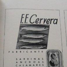 Coleccionismo de carteles: FABRICA CONSERVAS PESCADO -F.F.CERVERA- VIGO CANGAS CALAMARES ANCHOAS MARISCOS ATUN HOJA AÑO 1939. Lote 194300430