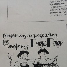 Coleccionismo de carteles: FABRICA CONSERVAS PESCADO PAY-PAY SUCESOR DE HIJOS DE JUAN B.CERQUEIRA VIGO HOJA AÑO 1939. Lote 194300698
