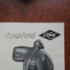 Coleccionismo de carteles: FABRICA CONSERVAS RIBAS -SABOR DEL MAR - VIGO HOJA AÑO 1939. Lote 194300948