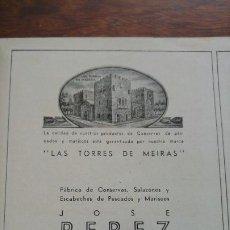 Coleccionismo de carteles: FABRICA CONSERVAS SALAZONES ESCABECHE JOSE PEREZ MARTINEZ SANTA EUGENIA DE RIVEIRA CORUÑA AÑO 1940. Lote 194301976