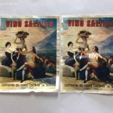 Coleccionismo de carteles: ETIQUETAS DE VINO SALTILLO. COOPERATIVA DEL CAMPO CORZA DE LA SIERRA. COZAR. C. REAL. GRÁFICAS ANDAL. Lote 194304276