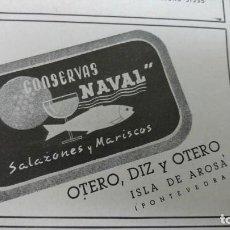 Coleccionismo de carteles: CONSERVAS -NAVAL- SALAZONES Y MARISCOS OTERO,DIZ Y OTERO ISLA DE AROSA PONTEVEDRA HOJA AÑO 1940. Lote 194329152