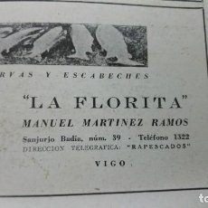 Coleccionismo de carteles: FABRICA DE CONSERVAS Y ESCABECHES -LA FLORITA- MANUEL MARTINEZ RAMOS VIGO HOJA AÑO 1940. Lote 194330650