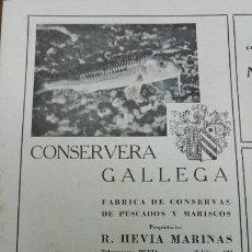 Coleccionismo de carteles: FABRICA DE CONSERVAS DE PESCADOS Y MARISCOS -CONSERVERA GALLEGA- R.HEVIA MARINAS PONTEVEDRA AÑO 1940. Lote 194330841