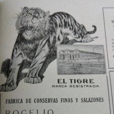 Coleccionismo de carteles: FABRICA DE CONSERVAS FINAS Y SALAZONES -EL TIGRE- ROGELIO LOPEZ BOBO VIGO CANGAS HOJA AÑO 1940. Lote 194331230