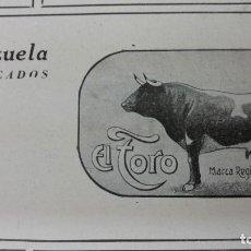 Coleccionismo de carteles: FABRICA DE CONSERVAS DE PESCADOS -EL TORO- CELSO FERNANDEZ VALENZUELA RIOS VIGO HOJA AÑO 1940. Lote 194331324