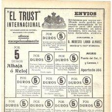 Coleccionismo de carteles: 1911 HOJA REVISTA PUBLICIDAD ANUNCIO RECORTE DE PRENSA JOYERÍA 'EL TRUST' ALHAJAS Y RELOJES 5 DUROS. Lote 194331868