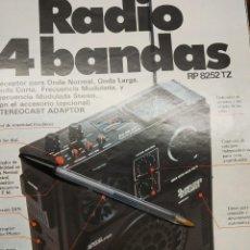 Coleccionismo de carteles: PUBLICIDAD DE SANYO LA RADIO A 4 BANDAS.. Lote 194347878