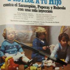 Coleccionismo de carteles: NUEVA VACUNA TRIPLE VIRICA PROTEGE A TU HIJO.. Lote 194348423