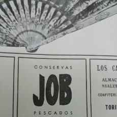 Coleccionismo de carteles: CONSERVAS -JOB-PESCADOS MARISCOS ANCHOADO SALAZONES REDONDELA VIGO HOJA AÑO 1940. Lote 194356700