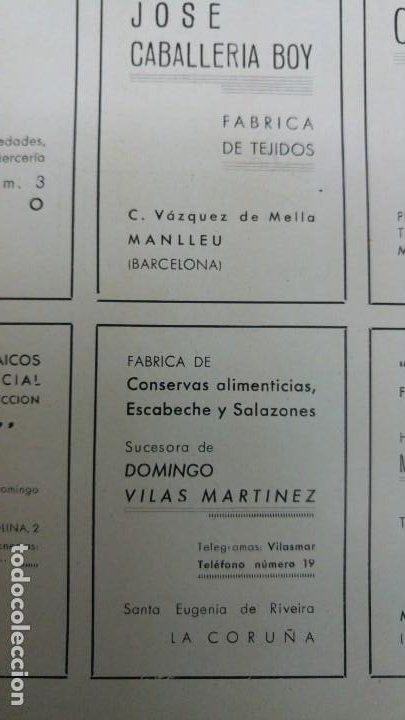 FABRICAS DE CONSERVAS ESCABECHE Y SALAZONES SUCESORA DOMINGO VILAS MARTINEZ SANTA EUGENIA RIBEIRA (Coleccionismo - Carteles Pequeño Formato)